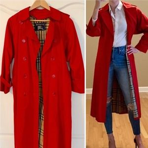 Burberry Vintage Classic Red Trench Coat Sz 6P